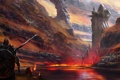 Картинка вода, горы, озеро, скалы, меч, воин, арт