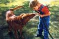 Картинка собака, мальчик, арт, шланг, S Thomas Sierak