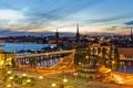 Картинка небо, огни, дороги, дома, вечер, Стокгольм, Швеция
