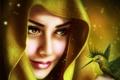 Картинка глаза, взгляд, девушка, лицо, улыбка, магия, крылья