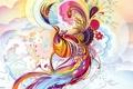 Картинка узор, перья, цветы