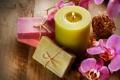 Картинка цветы, свеча, мыло, орхидеи
