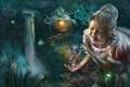 Картинка лес, светлячок, фэнтези, дом, masterBo, украшения, водопад