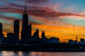 Картинка небо, закат, здания, небоскребы, USA, америка, чикаго