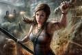 Картинка девушка, погоня, искры, Tomb Raider, Lara Croft, раны