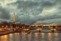 Картинка вода, мост, река, Франция, Париж, Сена, Эйфелева башня