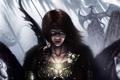 Картинка девушка, звери, скалы, дракон, лук, тату, арт