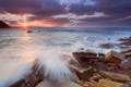 Картинка море, волны, солнце, камни, скалы