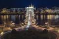 Картинка Венгрия, Будапешт, Дунай, цепной мост, ночь. огни
