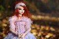 Картинка природа, игрушка, кукла, размытость, рыжая, сидит, длинные волосы