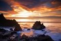 Картинка закат, пейзаж, скалы, небо, природа, море