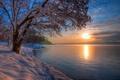 Картинка небо, солнце, облака, снег, озеро, берег, Зима
