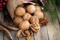 Картинка веточка, орехи, грецкие, бадьян, анис, елочная