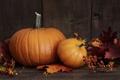 Картинка осень, ягоды, листва, тыква, autumn, leaves, pumpkin