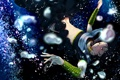 Картинка пузыри, аниме, падение, арт, парень, под водой, magi the labyrinth of magic