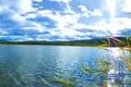 Картинка пейзаж, река, трава, небо, горизонт, холмы, облака