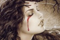 Картинка девушка, лицо, кровь, слеза