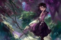 Картинка девушка, цветы, зонтик, ветер, зонт, сад, арт
