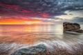 Картинка камень, берег, небо, рассвет, океан