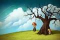 Картинка art, облака, небо, девушка, настроение, дерево