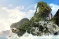 Картинка черепаха, океан, растительность, фантазия, desktop, фентази, остров