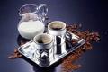 Картинка coffee, tray, milk, cups, coffee beans