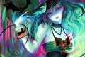 Картинка девушка, праздник, шляпа, аниме, арт, бусы, летучая мышь