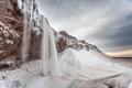 Картинка зима, гора, водопад