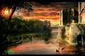 Картинка fantasy, закат, мост, замок, озеро