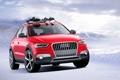 Картинка Audi, Красный, Зима, Снег, Машина, Джип, Фары