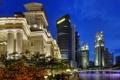 Картинка небо, деревья, мост, огни, дома, вечер, singapore