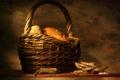 Картинка стол, корзина, хлеб, колосья