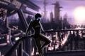 Картинка девушка, город, киберпанк, мегаполис, sci-fi