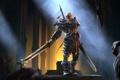 Картинка лучи, оружие, замок, арт, зал, амулет, мечи