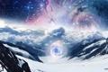Картинка небо, облака, свет, снег, горы, тучи, люди