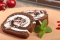 Картинка ягоды, шоколад, мята, крем, десерт, сладкое, рулет