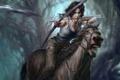 Картинка девушка, конь, скорость, лук, бег, стрела, lara croft