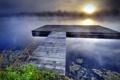 Картинка пейзаж, закат, мост, туман, озеро
