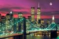 Картинка небо, мост, огни, луна, дома, башни, нью-йорк