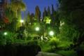 Картинка деревья, парк, вечер, фонари