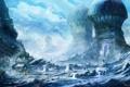 Картинка зима, небо, снег, фантастика, арт, храм, домики
