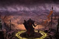 Картинка город, оружие, скалы, дым, череп, круг, армия