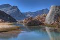 Картинка небо, горы, озеро, камни, скалы