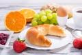 Картинка чай, яйцо, апельсины, клубника, тарелка, виноград, джем