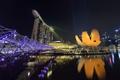 Картинка небо, ночь, огни, Азия, Сингапур, отель, Марина Бэй