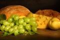 Картинка сыр, хлеб, виноград, фрукты, груши