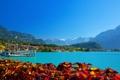 Картинка горы, город, река, берег, Швейцария, причал, Brienz