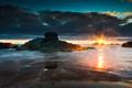 Картинка море, закат, природа, берег, вечер