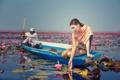 Картинка девушка, лодка, Asian Beauty, цветы