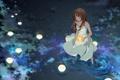 Картинка вода, девушка, звезды, ночь, свечи